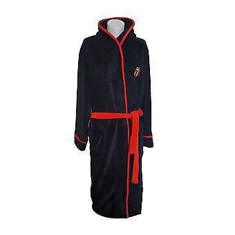 De Rolling Stones Classic Tongue Black Adult Fleece Dressing Gown