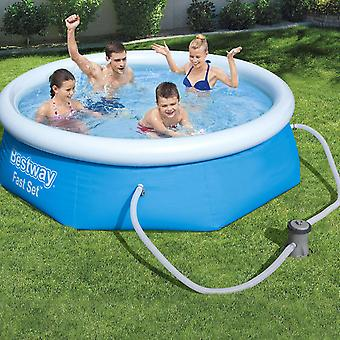 """Bestway Inflatable Family Paddling Swimming Round Pool 8ft X 26"""" With Filter Pump, 2100L"""