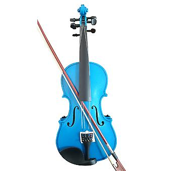 Student Acoustic Violin Full 4/4 Maple Spruce With Bow Rosin Blue