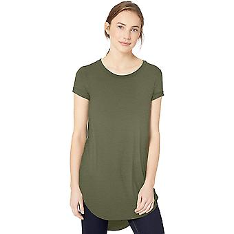 Marque - Daily Ritual Women's Jersey Short-Sleeve Open Crew Neck Tunic, Forest Green, Small