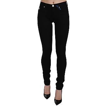 Black VJ Logo Denim Flat Skinny Fit Pants