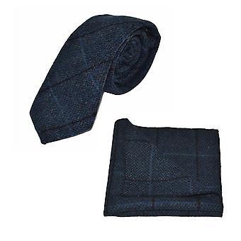 Ægæiske Blå Sildeben Check Tie & Amp; Lomme firkantet sæt