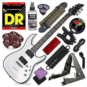 Schecter hellraiser c-1 elektrisk gitar (blank hvit) med gitarstativ, stropp, tuner og deluxe tilbehørspakke