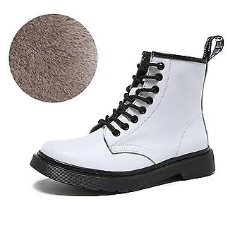 Soft Split Leather Women White Ankle Motorcycle Boot