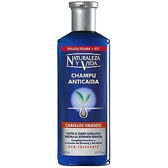 Naturaleza y Vida Shampooing Anti-Chute de Cheveux Gras 300 +100 ml