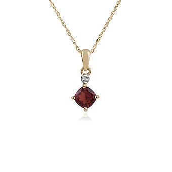 Classic Square Garnet & Diamond Pendant Necklace in 9ct Yellow Gold 135P1642059