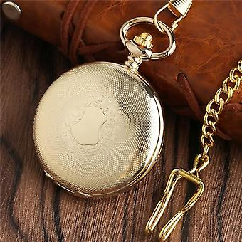 Golden Mechanical Pocket Watch Shield Design Hand Winding Steampunk Cool