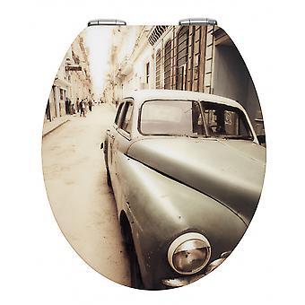 wC-istuin Vanhan ajan auto 38 x 44,5 cm MDF ruskea/valkoinen