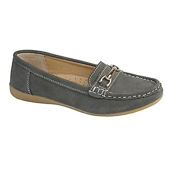 Boulevard Margaret Ladies Suede Gilt Bar Shoes Grey
