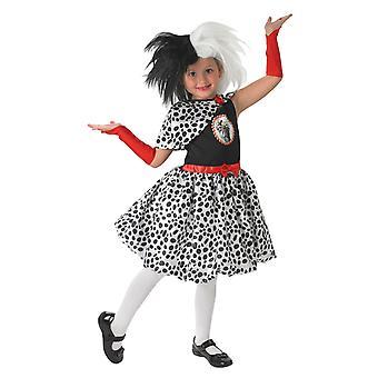 الفتيات سن 3 - 8 ديزني Cruella دي هالوين زي اللباس يتوهم