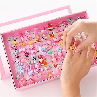 Gyermek rajzfilm gyűrűk, Candy, Virág, Animal Bow Shape Ring Set, Mix Finger