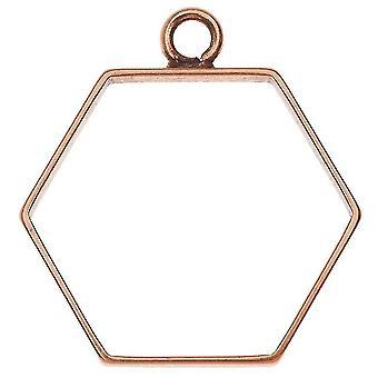 Final Sale - Open Back Bezel Pendant, Hexagon 29x31mm, 1 Piece, Antiqued Copper, by Nunn Design