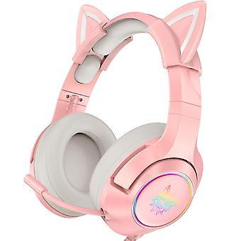 FengChun Pinkes Gaming-Headset mit abnehmbaren Katzenohren, für PS5, PS4, Xbox One (ohne