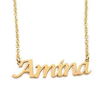 Kigu Amina - Justerbart halsband med anpassat namn, i guldpläterad förpackning 18 kt