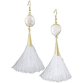 KYEYGWO - Pendientes colgantes de mujer, estilo bohemio, con borla, estilo vintage, con concha blanca y chapado en oro, color: Ref. 0715444118340
