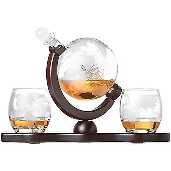 FengChun Whiskyset Glas-Karaffe Globus Segelschiff mit gravierter Weltkarte, 2 Whiskygläser und