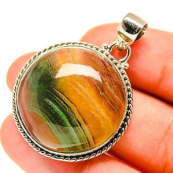 "Fluorite Pendant 1 1/2"" (925 Sterling Silver)  - Handmade Boho Vintage Jewelry PD760584"