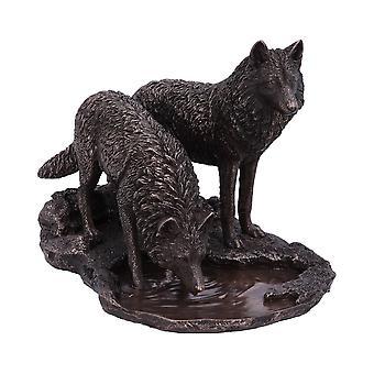 Guerreros de invierno lobo de bronce figurilla