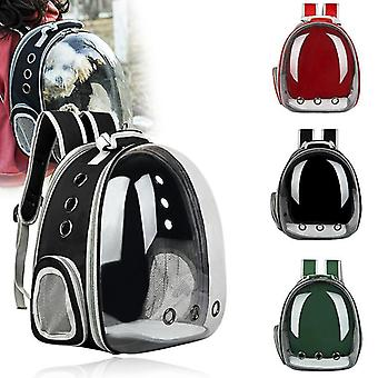 Red new expandabale cat bag breathable portable pet carrier bag outdoor travel backpack for cat and dog transparent space pet backpack fa1367