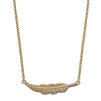 Principios 925 Plata esterlina Mujer Oro Chapado collar de plumas Longitud 41cm + 5cm