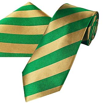Nyakkendők Planet Gold Label Zöld & Arany csíkos férfi selyem nyakkendő & Pocket Square zsebkendő szett
