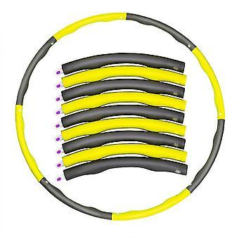 Detachable portable 8-Part hula hoop, Abdominal Exerciser Fitness Strength Hula Hoop(Yellow And