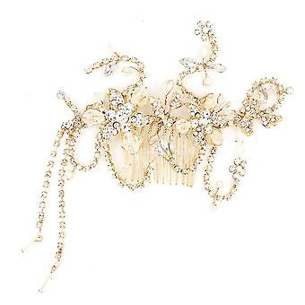 Barokki vintage kulta kristalli helmi perhonen morsius Tiara kruunu hiukset koristeet tekojalokivi kilpailu
