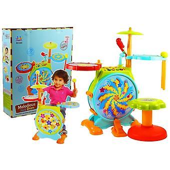 Kinderspielzeug Schlagzeug interaktiv - mit Hocker und Drumsticks