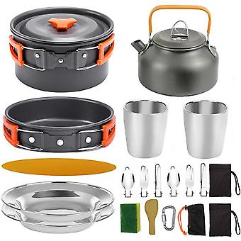 1 Set outdoor pots pans camping barbecue cookware picnic portable lightweight gear for traveling trekking green set 20pcs