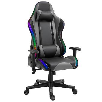 Vinsetto LED Light Racing Chair Ergonomic PU Leather Thick Padding High Back w/ Removable Pillows Adjustable Height 5 Wheels 360° Swivel Rocking Gaming Chair Black