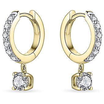 Bijoux Gisser - Boucles d'oreilles - Boucles d'oreilles fixées en zircone et pierre de zircone mobile sous la boucle d'oreille - 13,5 mmØ - 2 mm de large - Or jaune Argent 925