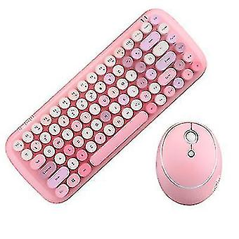 Langaton näppäimistö- ja hiirisarja, rainbow keycap retro punk -tyyli, tietokoneen kannettavaan toimistoon(vaaleanpunainen)