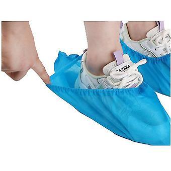 Sapato de bota descartável premium cobre 100 pacotes duráveis antiderrapantes (azul)