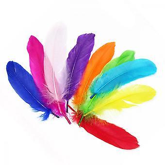 Farverig fjer, 18 stk flere farver Diy Håndværk Dekorationer