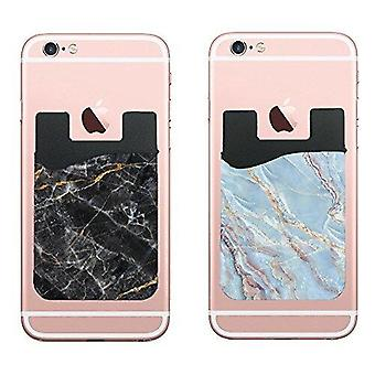 (Two) Marble Cell Phone Stick on Wallet Card Holder Phone Pocket for iPhone, Android and All