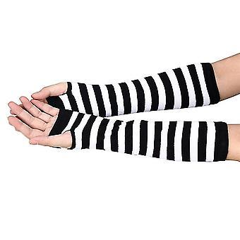Women Striped Wrist Arm Long Fingerless Gloves