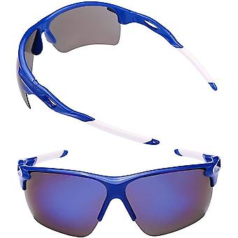 2 Pair of Extra Large Polarized Sport Wrap Sunglasses for Men with Big Heads - Blue/Blue