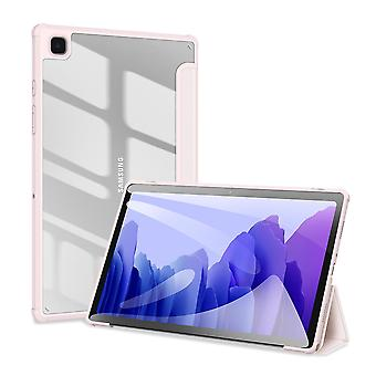 Case For Samsung Galaxy Tab A7 2020 10.4 (t500-t505),folio Trifold Stand Smart Cover With Detachable Slim Hard Shell Transparent Back Cover - Pink