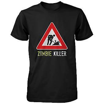 Zombie Killer varning suck Tshirt Funny skräck Halloween svart Tee roliga herrskjorta