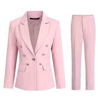 Allthemen נשים במשרד נשים מקצועי צבע מוצק מרובה כפתורים חליפה שני חלקים (בלייזר + מכנסיים)