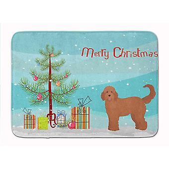 Bath mats rugs tan goldendoodle christmas tree machine washable memory foam mat