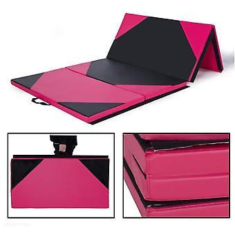 4'x10'x2» Tapis de gymnastique Panneau pliant Épais Gym Fitness Exercice Rose / noir Nouveau