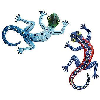 Set Of 2 Metal Gecko - Outdoor Wall Decoration - Decorazione sospesa per giardino, portico, patio, prato, recinzione