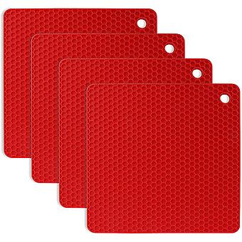 4pcs Anti-slip Anti-heat 230  C Multifunction Spoon Rest Kitchen Coasters Table Mat For Kitchen And Dining Room - Red