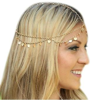 Head Chain Gold Dangle Layered Headpieces Festival Hair Chain Adjustable For Women