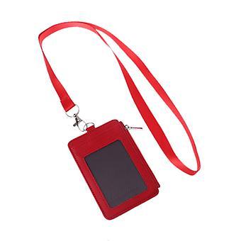 Leather Id Badge Cards Holder Lanyard Credit Card Case Business Organizer Bag