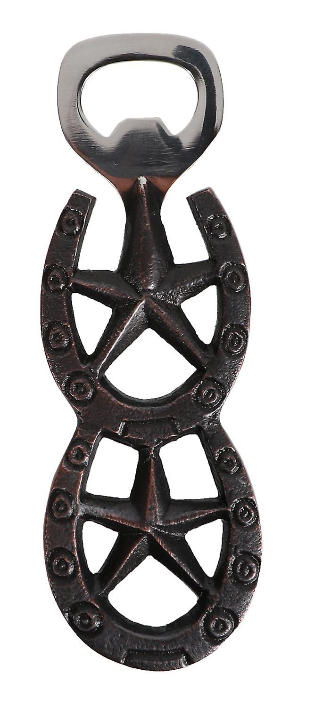 Double Horseshoe with Barn Stars Lucky Bottle Opener Cast Iron