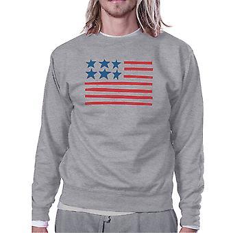 USA vlag Cute Amerikaanse vlag ontwerp Sweatshirt Unisex grijs Fleece