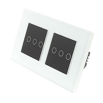 Ik LumoS wit glas dubbel Frame 6 bende 1 manier externe Touch LED licht schakelen zwarte invoegen