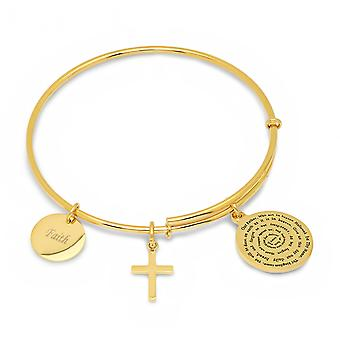 Ladies 18K Gold Plated Bracelet With Our Father, Faith, & Cross Charms